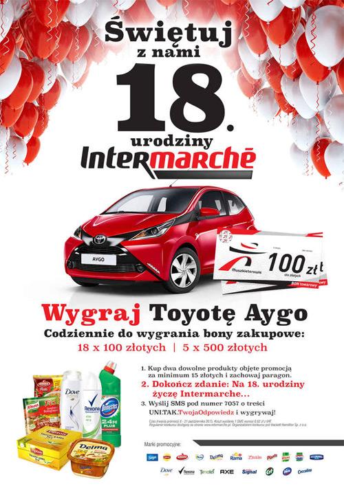 Konkurs urodzinowy Intermarche – wygraj Toyotę Aygo