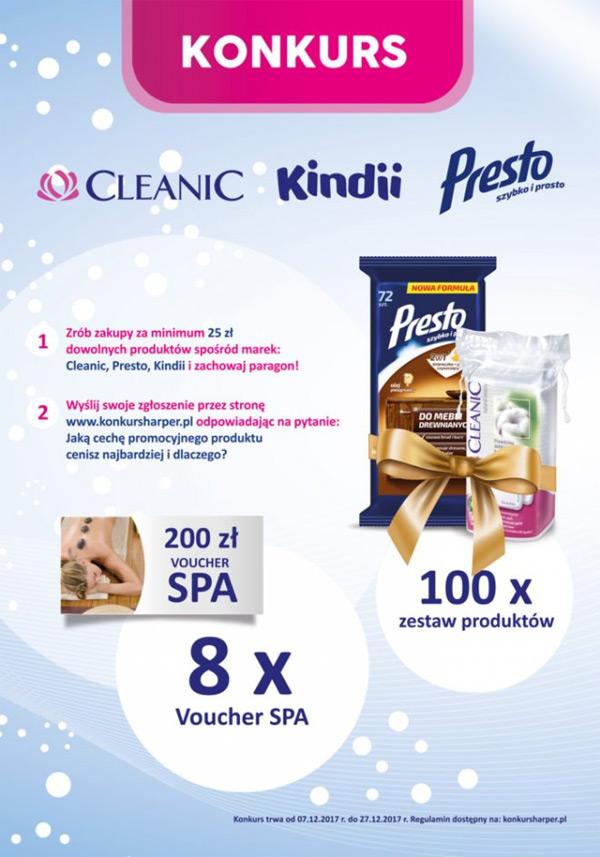 Konkurs Cleanic, Kindii i Presto w Drogerii Natura